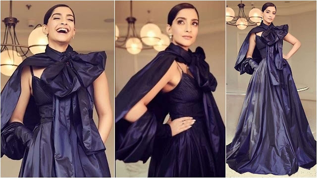 Sonam Kapoor in a blue dress by Elie Saab