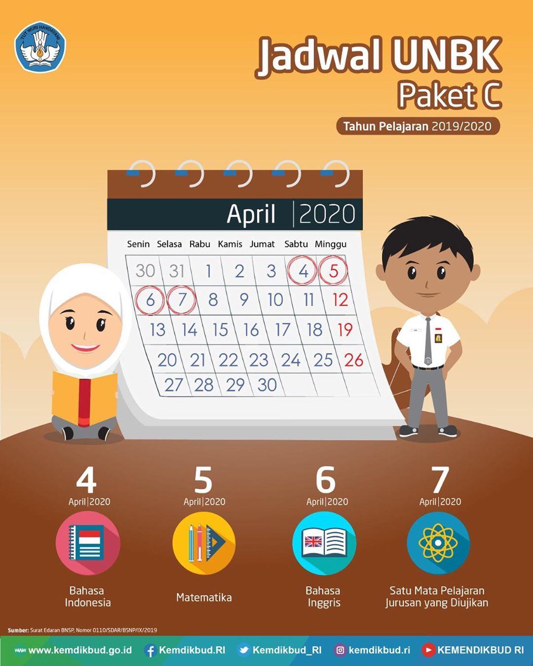 Jadwal UNBK Paket C Tahun Pelajaran 2019/2020