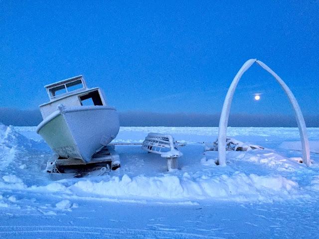 Supratim Sanyal's Blog: Whale Bone Arch, Bowhead Whale Bone, Boat and Moon at Utqiaġvik (Barrow), Alaska (C) 2020 Supratim Sanyal