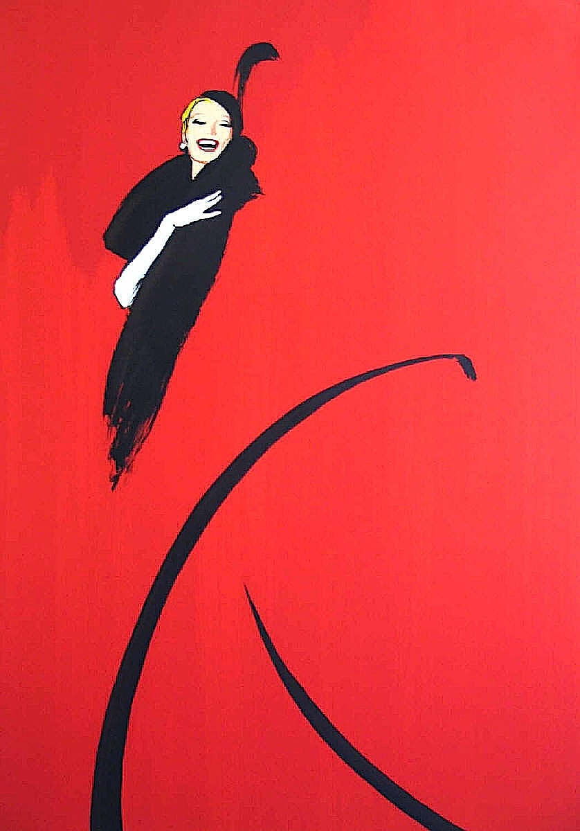 a René Gruau fashion illustration of a smiling woman in black on a red field