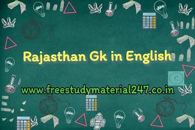 Rajasthan Gk in English