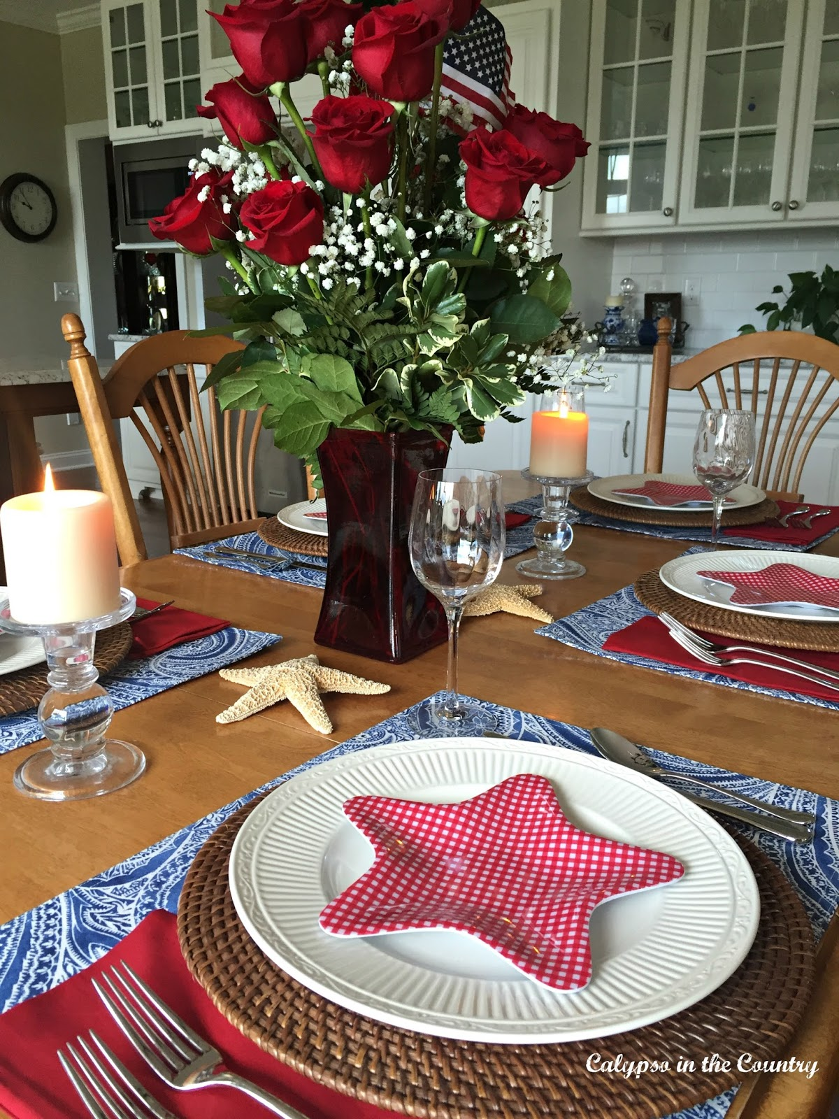 Patriotic Table Setting in the Kitchen | Calypso In The Country