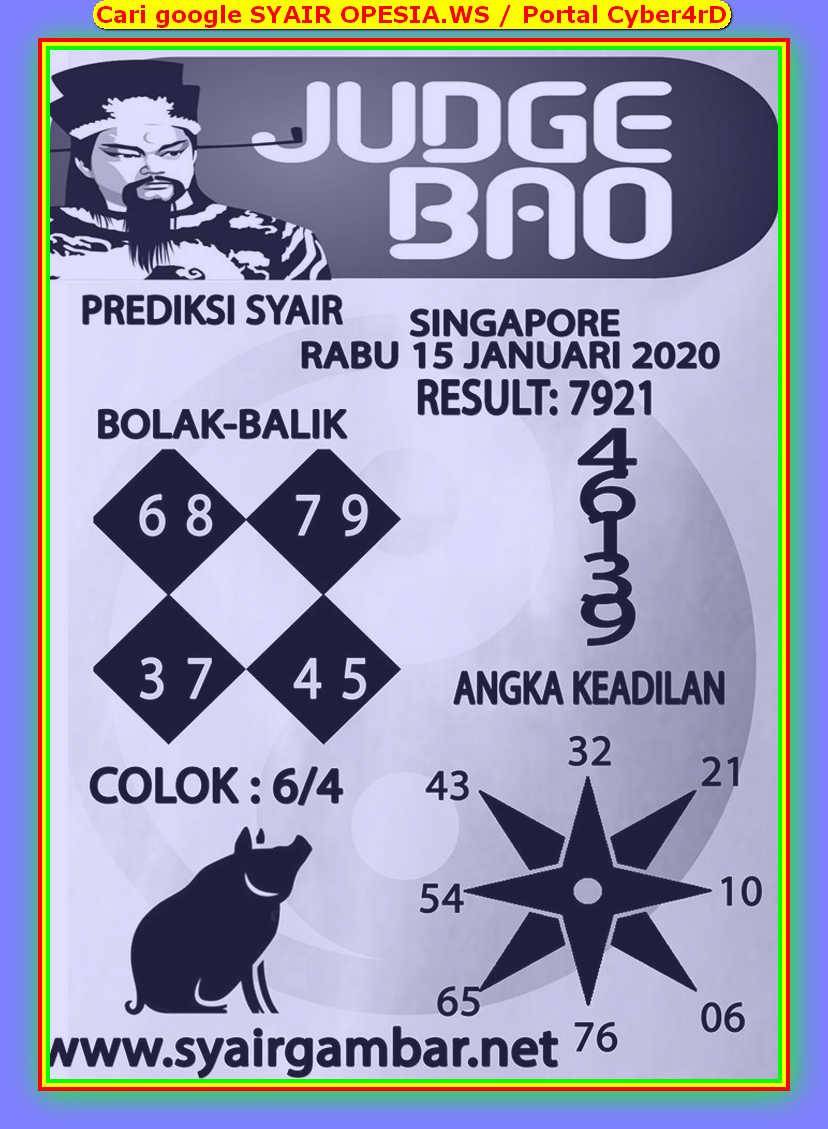 Kode syair Singapore Rabu 15 Januari 2020 63