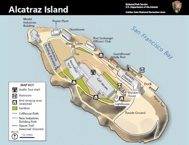 mapa da ilha da prisao de alcatraz