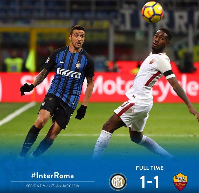 Inter e Roma continuano a non vincere in Serie A: 1-1 a San Siro nel posticipo