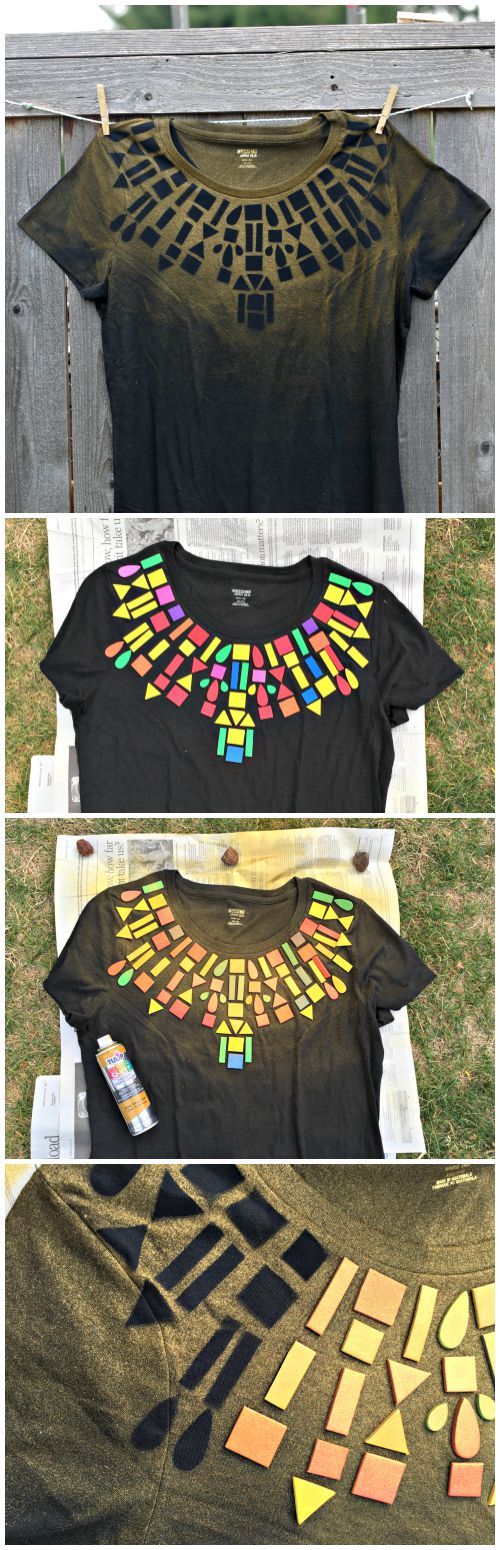 Dollar Store Craft: Geometric Collar T-shirt DIY - super easy to make with foam stickers and fabric spray paint