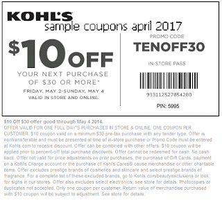 Kohls coupons for april 2017