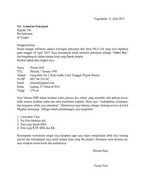 Contoh Surat Lamaran Kerja Office Boy Surat Lamaran Kerja
