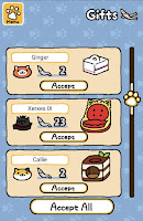 """Android screenshot of the """"gifts"""" screen, where kitties reward you with fish"""
