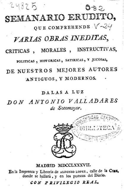 Antonio de Valladares Sotomayor: Semanario erudito, que comprehende varias obras inéditas, vol. 18. 1789