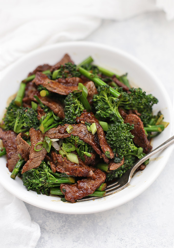 Healthy Beef and Broccoli - A takeout favorite gets a healthy makeover! This dish is easily paleo or gluten free, and comes together in no time!