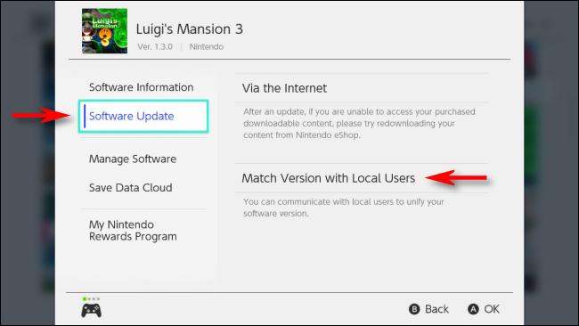 حدد إصدار المطابقة مع المستخدمين المحليين في قائمة الخيارات لـ Nintendo Switch