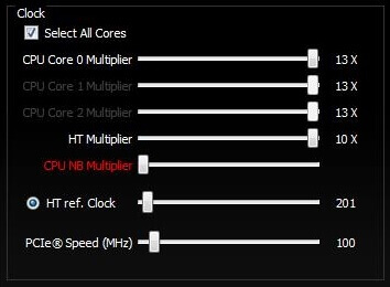 Clock settings in AMD OverDrive