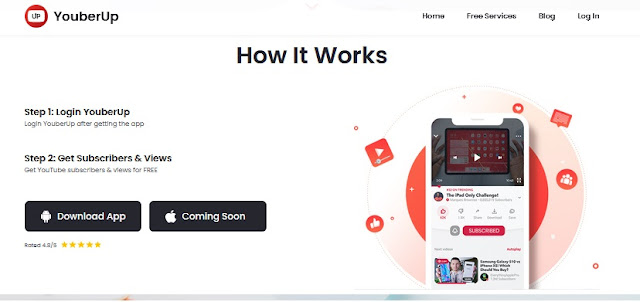 زيادة متابعين يوتيوب عبر تطبيق YouberUp - مشتركين حقيقين مجانا