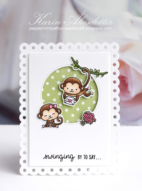 Sunny Studio Stamps: Love Monkey Frilly Frames Polka Dots Love Themed Cards with Karin Akesdotter