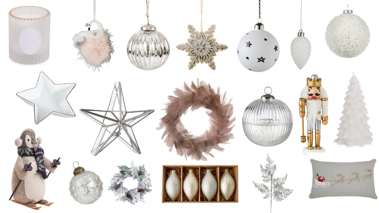 Budget Christmas interior inspiration, featuring decor and accessories from the high street Christmas 2020. From tree decorations, garlands, candles
