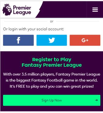 Select Social Media account or Sign Up - Fantasy Premier League