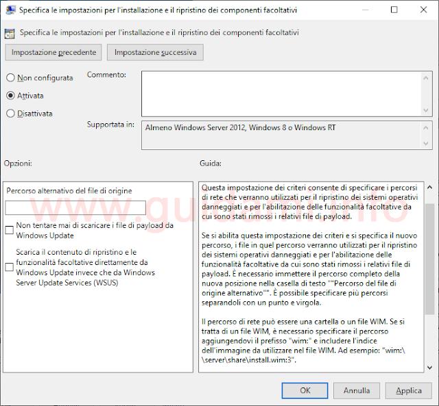 Finestra impostazione Editor Criteri di gruppo locali Windows 10