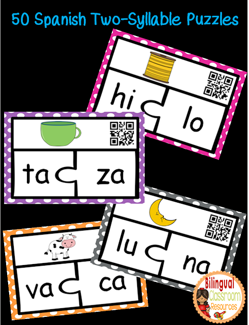 Spanish Two-Syllable Puzzles. Rompecabezas de palabras de dos sílabas