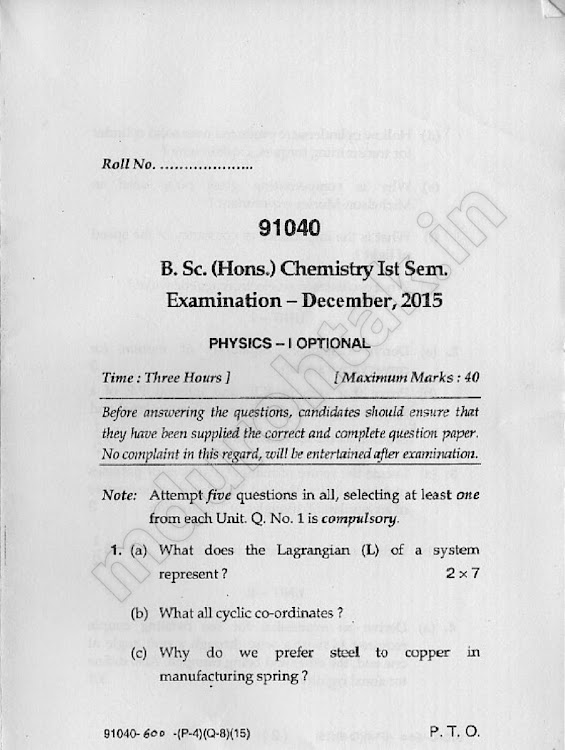 Download physics-1 optional - December 2015 Question paper - Bsc Hons Chemistry 1st semester - for free