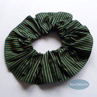 Christmas Dog Scrunchie Ruffle, Green, Gold, Stripes