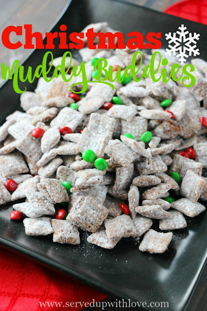 Christmas Muddy Buddies recipe from Served Up With Love is made with Chex cereal, chocolate, peanut butter, and powdered sugar. The holiday snack that is super addictive.