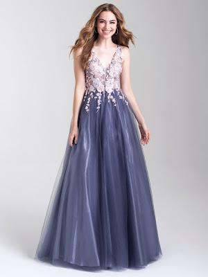 Plunging neckline dresses prom dress Madison James Multi color