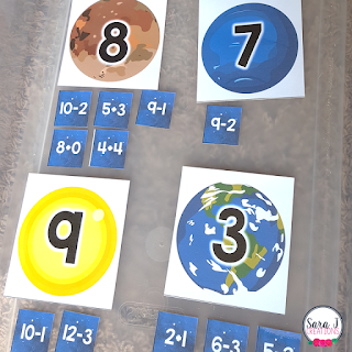 Download your FREE space themed addition and subtraction cards. These make the perfect activity for building math fact fluency in kindergarten and first grade.