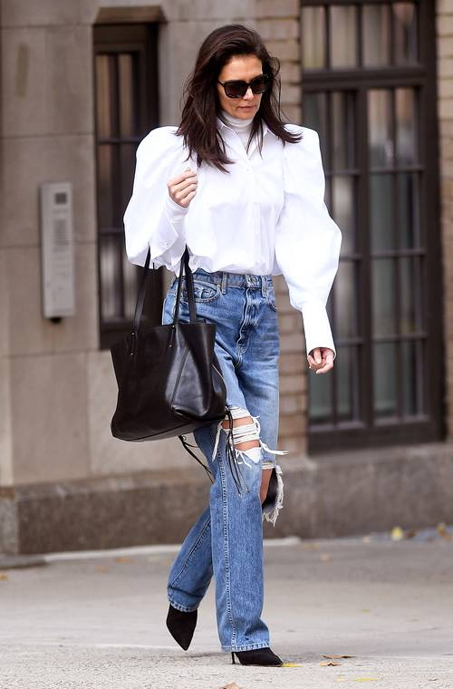 Katie Holmes Wore The Perfect White Blouse