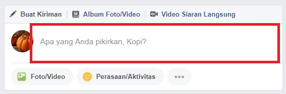 Membuat status facebook
