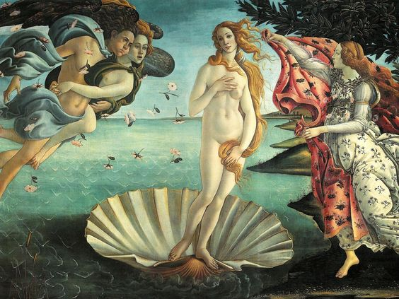 Sandro Boticelli's The Birth of Venus, 1486 , Galleria degli Uffizi, Florence.