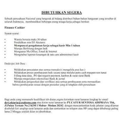 Lowongan Kerja Daerah Medan D3 Desember 2019 Finance Cashier