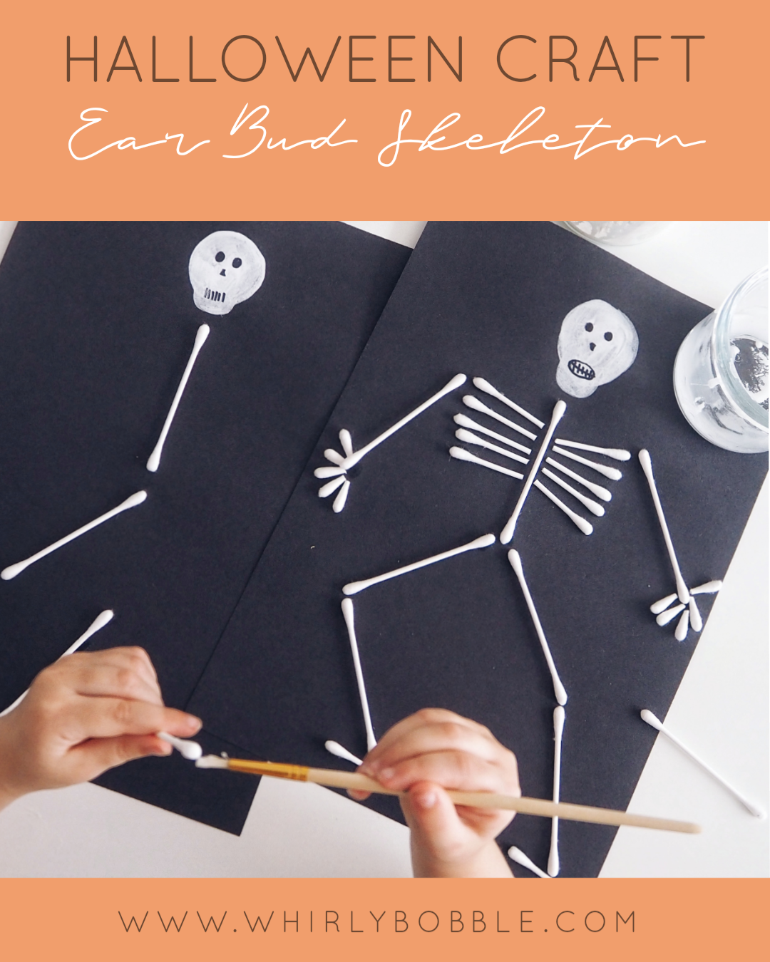 Halloween Craft: Cotton Bud Skeleton