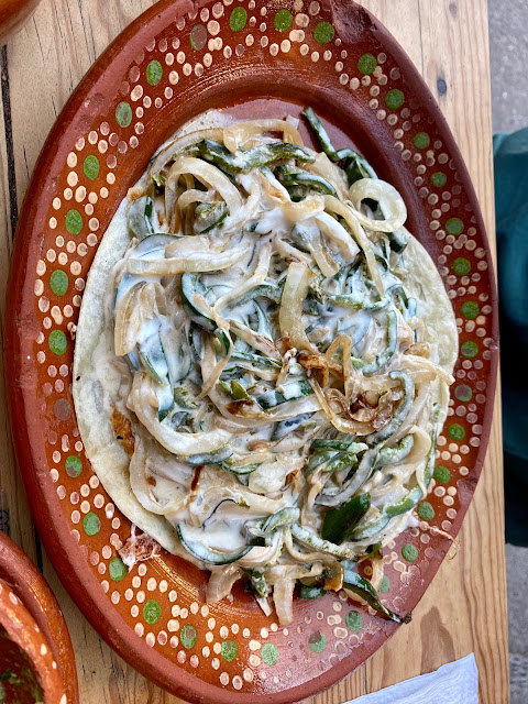 poblano pepper and onion quesadilla