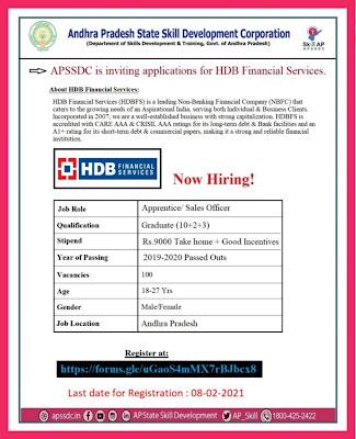 APSSDC Recruitment Notification in HDB.