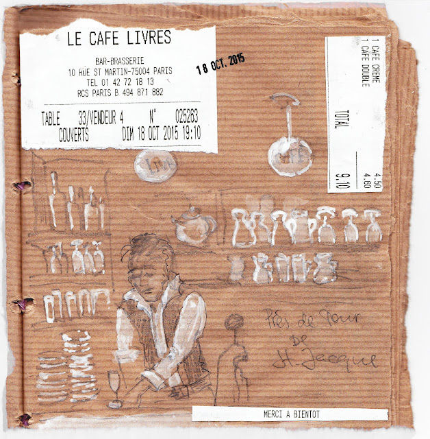 Paris-Travel Sketchbook, Cafe de Livres