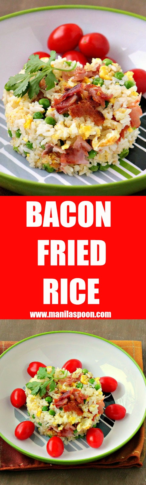 Left-over rice? No problem! Turn it into delicious fried rice flavored with bacon, garlic and eggs! Easy and delicious instant side dish! | manilaspoon.com