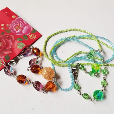 Wire Wrapped Fire Polished Glass Beads Bracelet and Face Mask Chain