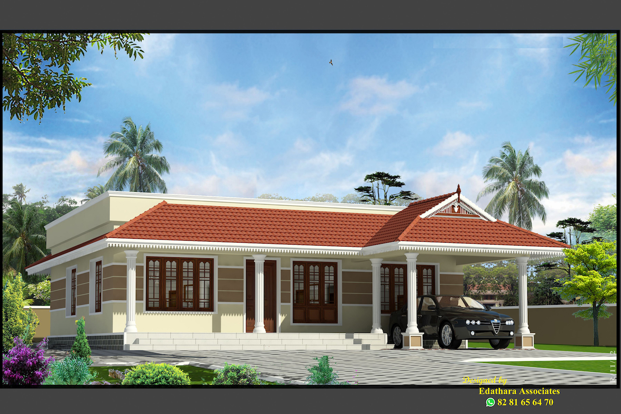 1312 Sq Ft Traditional Single Floor Kerala Home