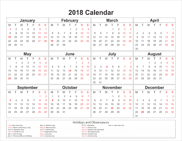 Free yearly printable calendar 2018 download editable templates types of calendars in pdf excel ppt formats toneelgroepblik