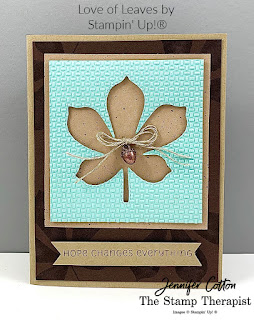 "This fall ""hope"" card uses Stampin' Up!®'s Love of Leaves Bundle, Stampin' Cut & Emboss Machine, Wrapped in Texture Embossing Folder, Gilded Autumn Specialty Designer Paper, Acorn Trinkets, and Linen Thread.  Link to video is on the blog.  #StampTherapist #Stampinup"
