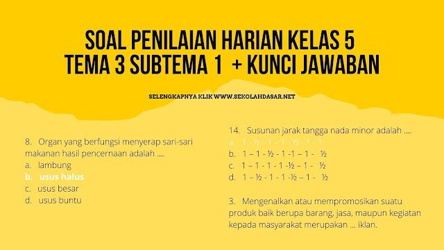 Soal Penilaian Harian Kelas 5 Tema 3 Subtema 1 dan Kunci Jawabannya