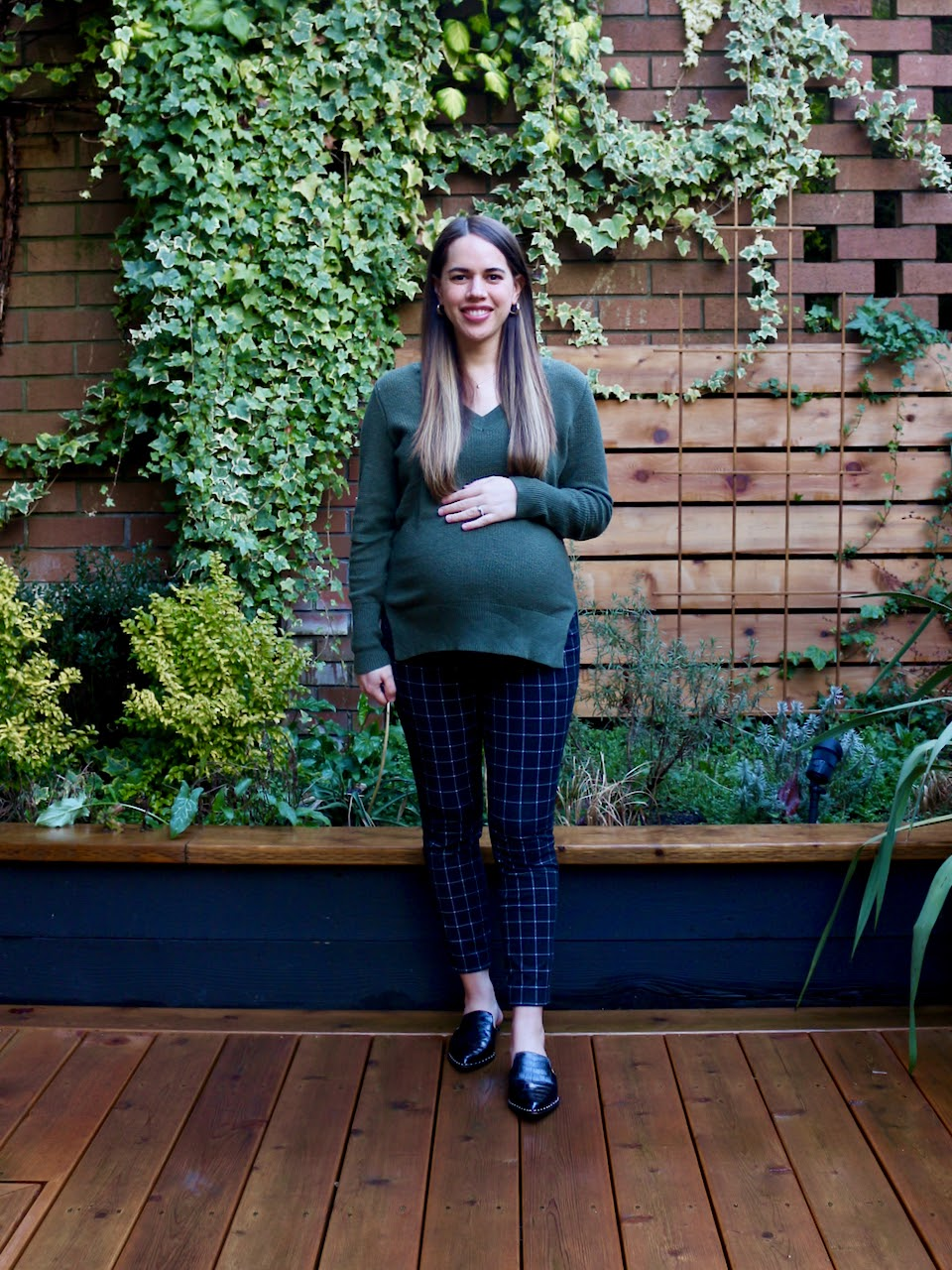Jules in Flats - Maternity Pixie Ankle Pants with V-Neck Sweater (Business Casual Workwear on a Budget)