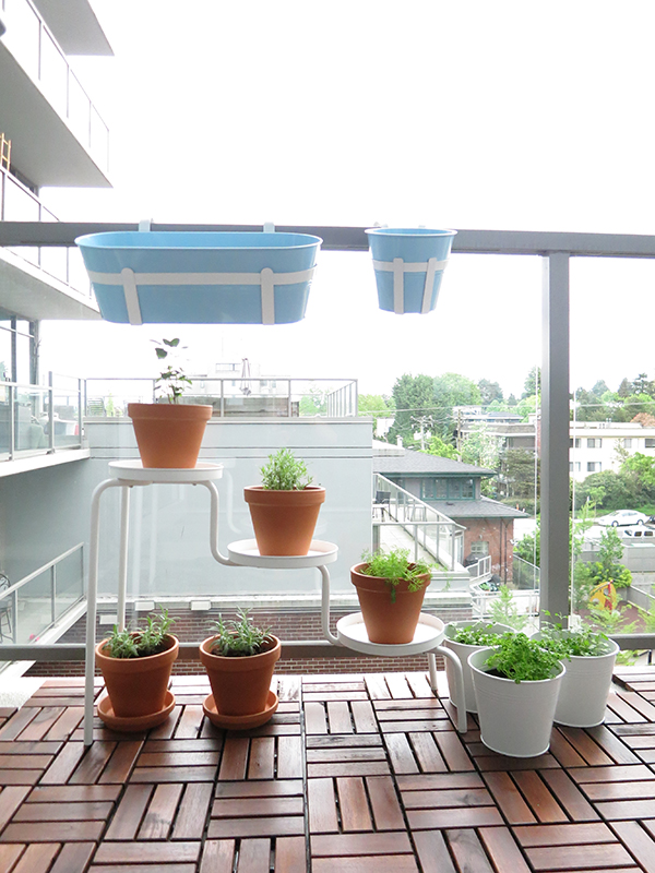 Vancouver city condo apartment small space patio makeover using IKEA finds: Herb garden using PS 2014 white plant stand, Socker planters. Terra cotta planters from Canadian Tire.