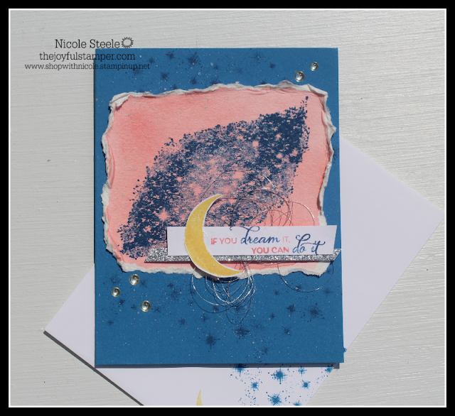watercolored card using Stampin' Up!'s Stargazing set by Nicole Steele The Joyful Stamper for TGIFC#224