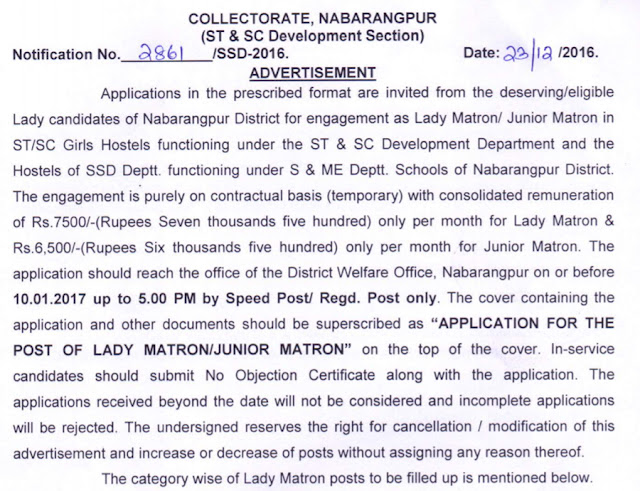 nabarangpur.nic.in Collectorate Recruitment