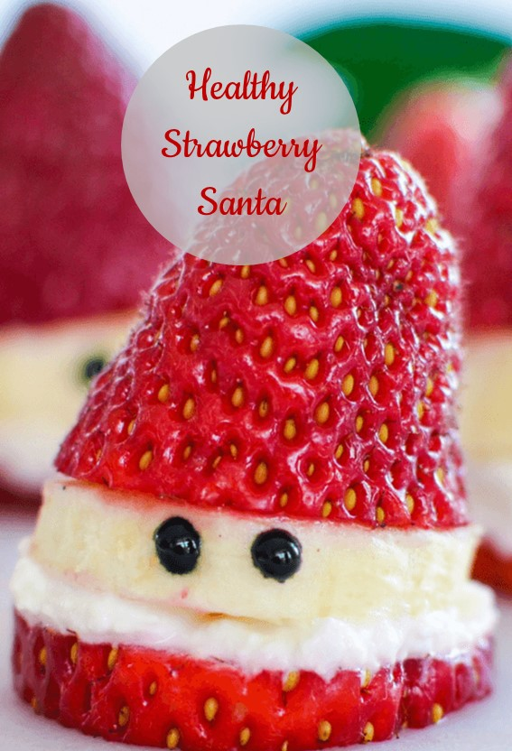 Healthy Strawberry Santa #Strawberry #Banana #Fruit #Cheese #Healthy #Christmas #Dessert