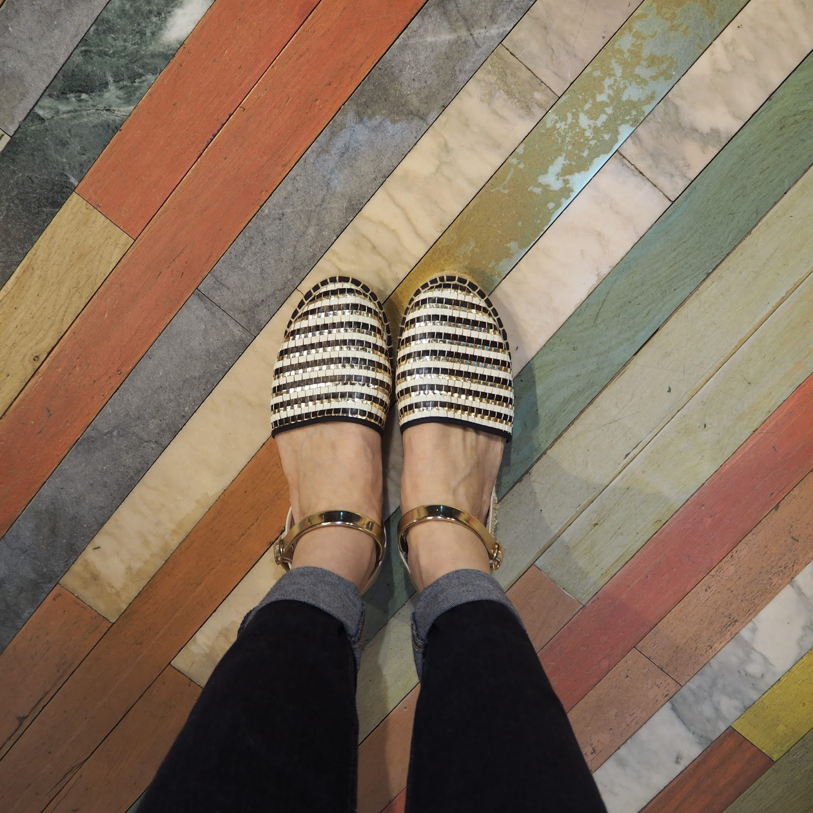 Black-white-gold-leather-espadrilles-multicoloured-floor-Liberty-London
