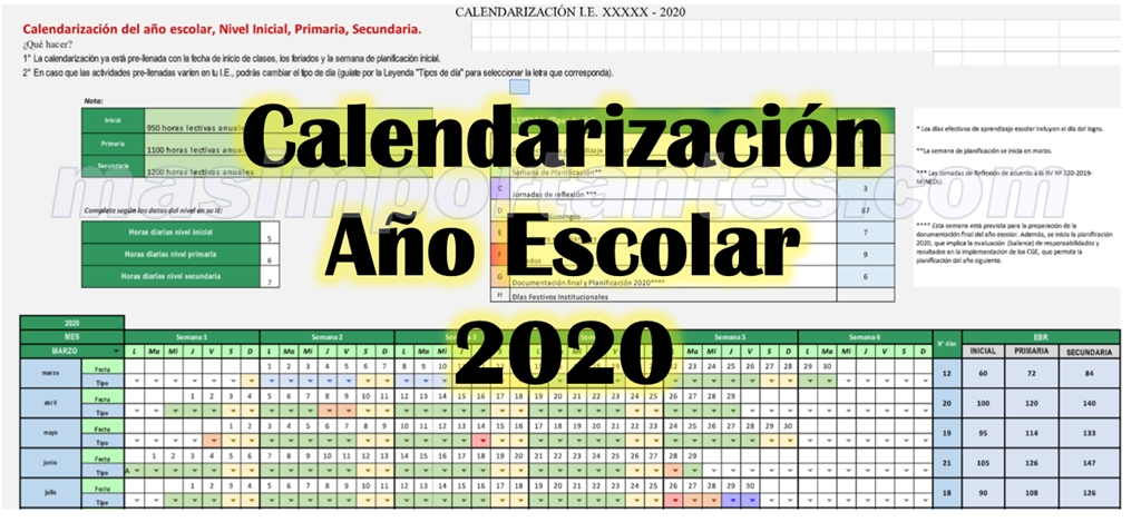 calendarización año escolar 2020