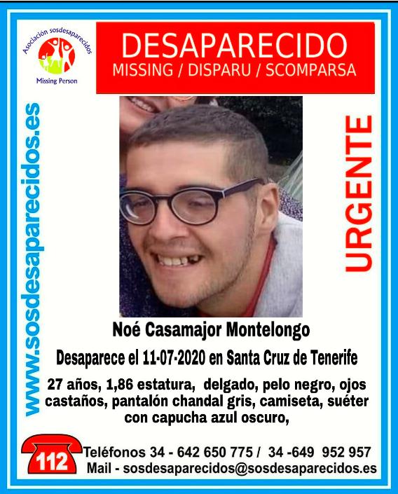 Buscan a Noé Casamajor , joven desaparecido en Santa Cruz de Tenerife